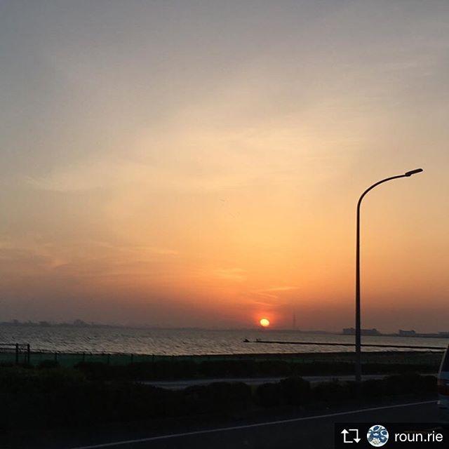 Repost from @roun.rie 昨日1枚もアップできなかったので…。一昨日の伊丹陣屋1日目の帰路に見た綺麗な夕陽。